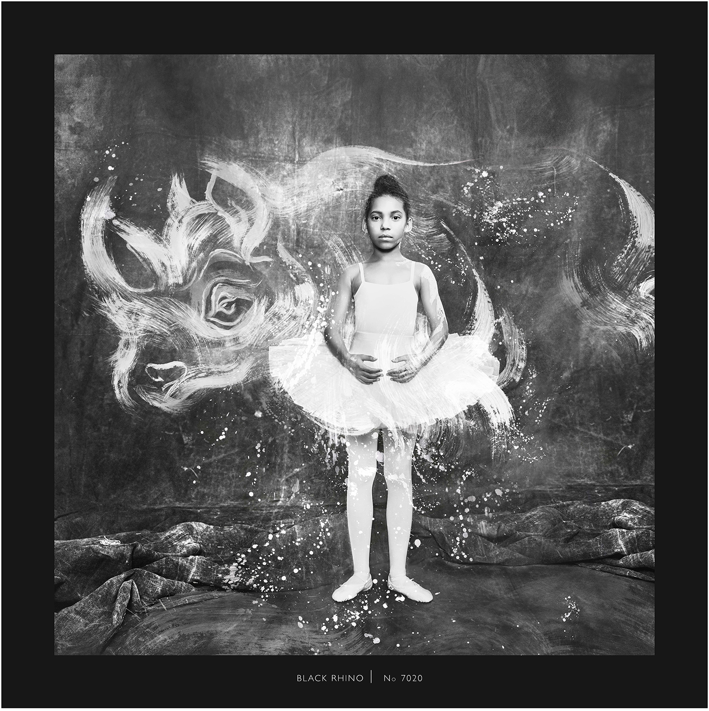 A young ballet dancer with a drawn rhino makes animal instinct black rhino photo art from Love Warriors