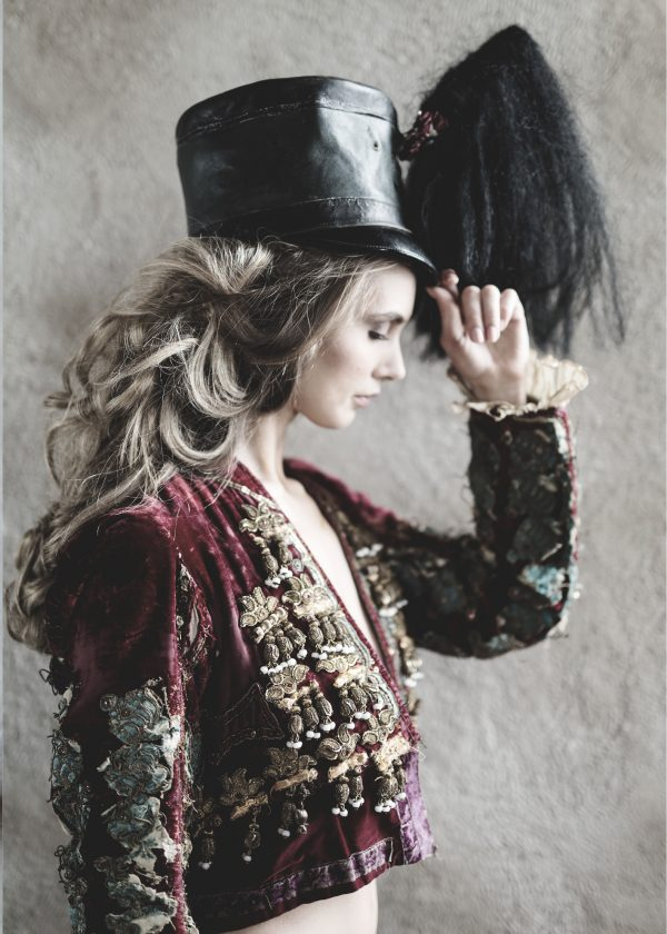 Beautiful woman in matador jacket print