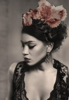 Frida Kahlo wearing the frida flower crown poster