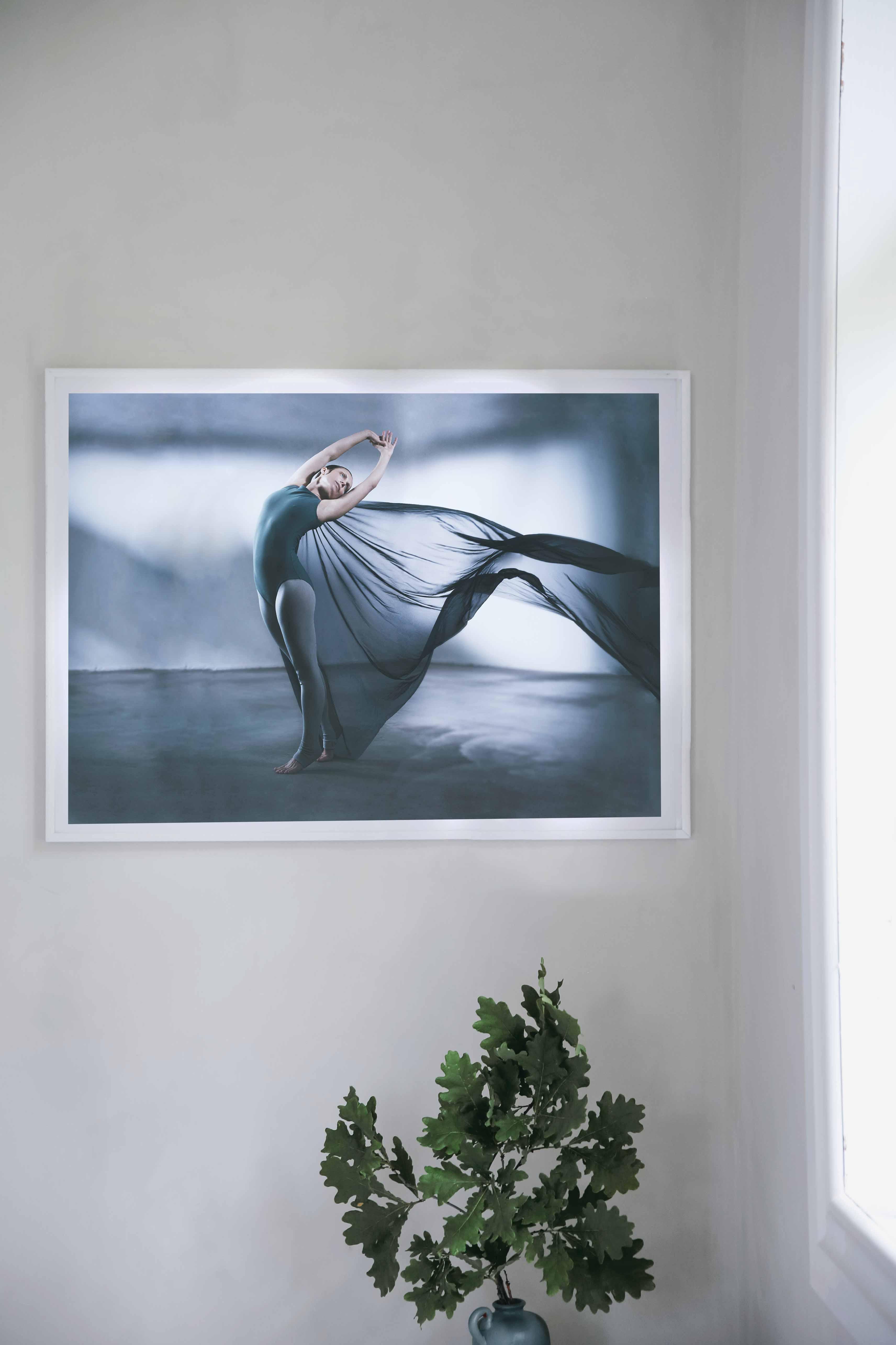 A woman with a flowy dress that dances