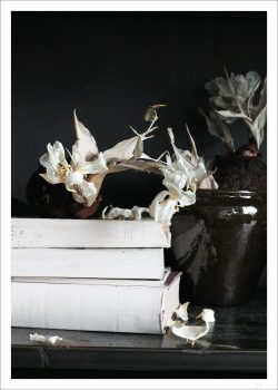 book poster and flowers