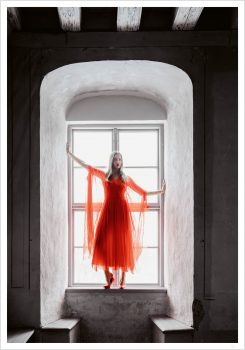 fashion girl in window poster