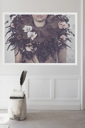 girl with flower collar poster