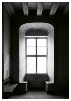 Window with light black and white poster