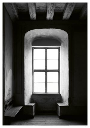 Old castle window makes our Window light black and white poster