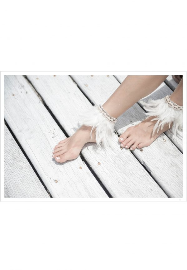 feet with white feathers poster