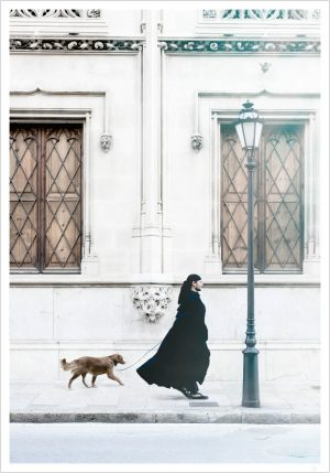 A black dressed man walking his dog and give you Man and dog poster
