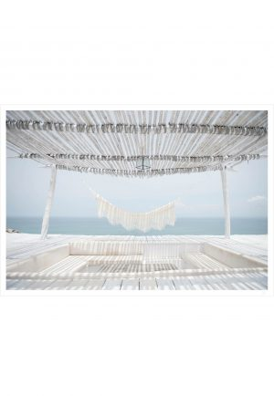white hammock and ocean