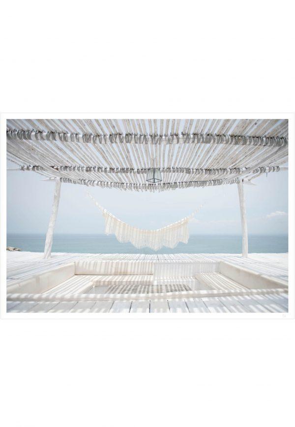 white hammock and ocean