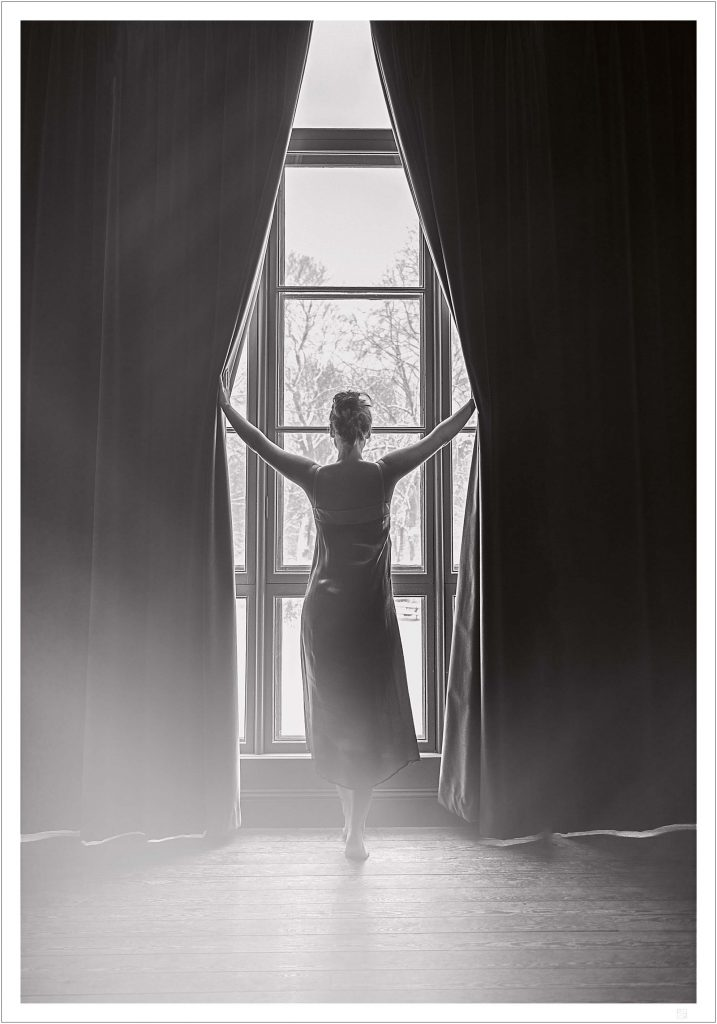 Woman in window poster
