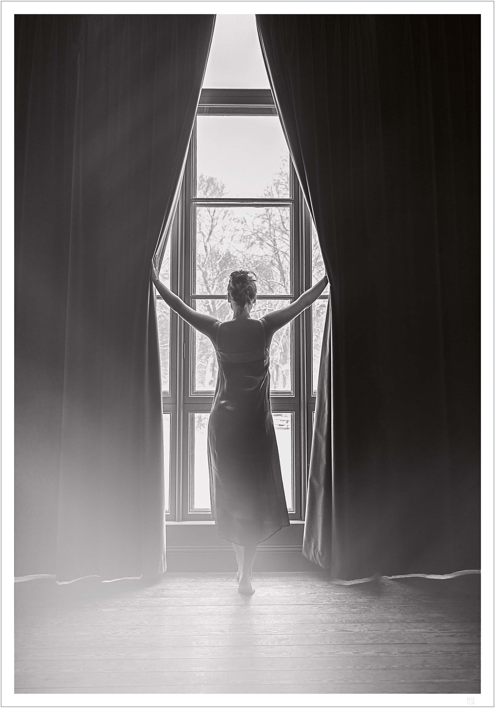 Woman in window poster